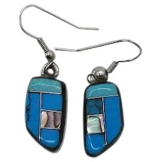 Beautiful Vintage Sterling Silver 925 Inlay Turquoise MOP Pierced Earrings
