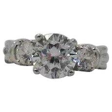 Stunning Vintage Signed NF Costume Jewelry Three Stone Cubic Zirconia Ring Unworn