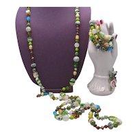 Gorgeous Signed Cookie lee Vintage Art Glass Gemstone Beaded 60 Inch Long Necklace Stretch Bracelet Set Unworn FREE SHIPPING
