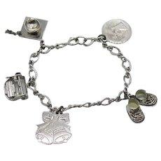 Vintage Sterling Silver 5 Charm 925 Charm Bracelet FREE SHIPPING