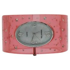 Unusual Signed Manhattan by Croton Vintage Pink Lucite Cuff Bracelet Watch Embedded Rhinestones FREE SHIPPING