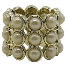 BOLD Vintage Faux Pearl Three Row Stretch Bracelet 2 ¼ Inches Wide! FREE SHIPPING