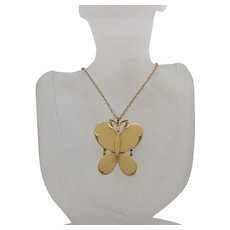 Fabulous Signed Art Arthur Pepper Vintage Articulated Butterfly Pendant Necklace Enameled FREE SHIPPING