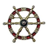 Signed Danecraft Nautical Vintage Brooch Enameled Rhinestone Ships Wheel FREE SHIPPING