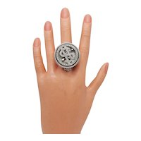 Rare HUGE Rhinestone Dollar Sign Spinner Watch Ring Signed JJ FREE SHIPPING