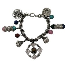 Unusual Signed Germany Vintage Bold Etruscan Revival Charm Bracelet 66.5 Grams! FREE SHIPPING