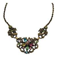 Beautiful Signed Coro Vintage 1950s Rhinestone Necklace FREE SHIPPING