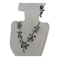 BOOK Vintage Signed Avon Tonal Blue Floral Necklace Pierced Earrings FREE SHIPPING