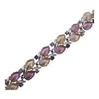 Unusual Signed Lisner Vintage Iridescent Glass Leaf Rhinestone Bracelet FREE SHIPPING