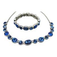 Beautiful Signed M Vintage Bezel Set Sapphire Blue Necklace Stretch Bracelet Set FREE SHIPPING