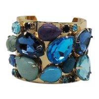 Bold Vintage Costume Jewelry Golden Rhinestone Glass Cabochon Cuff Bracelet FREE SHIPPING