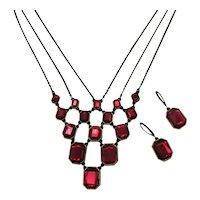 Signed NR Avon of Belleville Vintage Festoon Red Rhinestone Brass  Necklace Pierced Earrings Set FREE SHIPPING