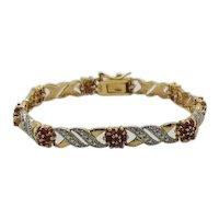 Gorgeous Signed DBJ 925 14K Overlay Vintage Sterling Silver Ruby Cluster Tennis Bracelet FREE SHIPPING