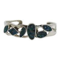 Beautiful Signed WK Whitney Kelly 925 Mosaic Opal Sterling Cuff Bracelet FREE SHIPPING