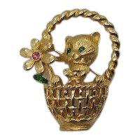 Signed Trifari TM Trembler Vintage Rhinestone Figural Kitty Cat in Basket Brooch FREE SHIPPING