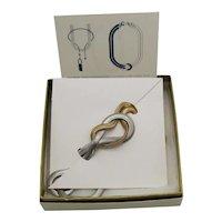 BOOK Signed Avon Vintage 1985 'Soft Knot Convertible' Mixed Metals Necklaces Unworn Original Box