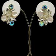 Pretty Vintage MOP AB Rhinestone Mid Century Clip Earrings