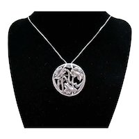 Stunning Stylized Sterling Silver Vintage Convertible Floral Necklace Brooch FREE SHIPPING