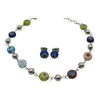 Unusual Signed  NR Avon of Belleville Millefiori Vintage Glass Beaded Anklet Pierced Earrings Set FREE SHIPPING