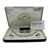Amazing Vintage Signed Bogoff Crystal Rhinestone Parure Original Buxton Jewelry Case FREE SHIPPING