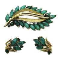 Trifari Unsigned Vintage Faux Jade Art Glass Navette Rhinestone Brooch Clip Earrings Set FREE SHIPPING