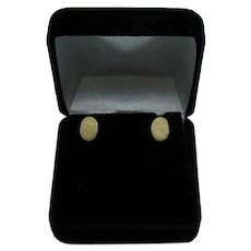 Signed Anson 14K Yellow Gold Vintage Etched Pierced Earrings FREE SHIPPING