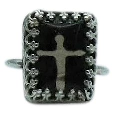 Extremely Rare Antique Sterling Silver Hidden Cross Fleur de lis Ring FREE SHIPPING