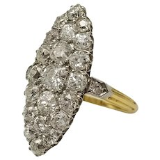 Marquise Diamond Ring, 18k Gold and Platinum / Antique Ring 1900's / Vintage Ring / French Ring