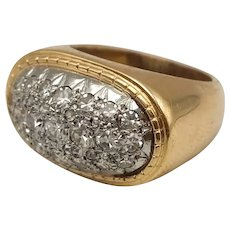 Ring with Diamond Pavage Size 8/8 18k Gold and Platinum / Vintage Ring