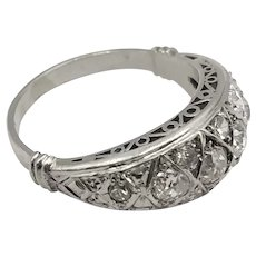 Platinum Ring with Antique Cut Diamonds / Vintage Ring 1950's
