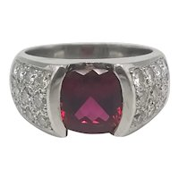 Ring Ruby and brilliant-cut Diamonds in Platinum / Vintage Ring / 1990's Ring
