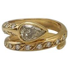 18k Gold Diamond Ring / Snake Ring / Contemporary Ring