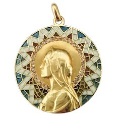 Masriera y Carreras Virgin Mary Medal of Translucent Enamel, Diamonds and 18k Gold / Religious Medal