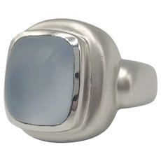 Ring with Light Blue Stone in 14k White Gold / Contemporary Ring