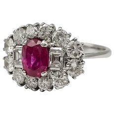 Natural Ruby Ring, Antique and Emerald cut Diamonds in 18k White Gold / Vintage Ring 1960's
