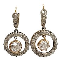 Antique Earrings Diamond and 18k Gold / Vintage Earrings / Pendant Earrings