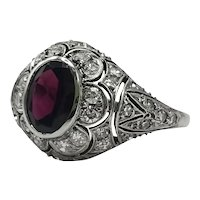 French Platinum Ring with Garnet and Antique Cut Diamonds / Antique Ring / Vintage Ring 1920's