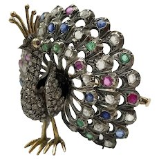 Peacock Brooch in 14k Gold and Silver with Blue Sapphires, Pink Sapphires, Emeralds and Diamonds / Vintage Brooch / Miniature Decorative Object