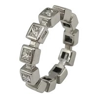 TOUS ring Princess cut diamonds and 18k white gold / TOUS brand ring / Wedding ring / Diamond Ring