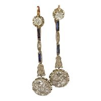 Antique Diamond and Sapphire Earrings / Long Earrings / Vintage Earrings / Pendant Earrings / Teardrop Earrings