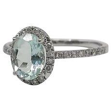 Ring with Aquamarine and Diamonds 18k White Gold / Aquamarine Ring Light Blue / Wedding Ring / Contemporary Ring