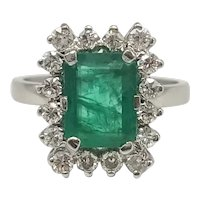 Ring with Emerald and Diamonds cut 16/16 of 18k white Gold / Vintage Ring