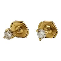 Earrings in 18k Gold with Diamonds / Stud Earrings / Small Earrings / Pressure Clasp