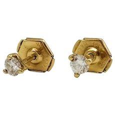 Earrings in 18k Gold with Diamonds / Stud Earrings / Small Earrings / Pressure Clasp
