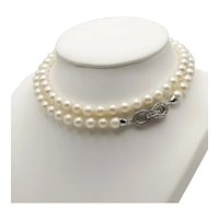 Akoya Pearl Necklace / 18k White Gold Diamond Clasp Necklace / Infinity Necklace / Long Necklace