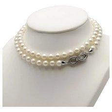 Akoya Pearl Necklace / 18k White Gold Diamond Clasp Necklace / Infinity Necklace / Long Necklace