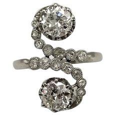 French Toi-et-Moi Platinum and Diamond Ring / Engagement Ring / Wedding Ring / Vintage Ring