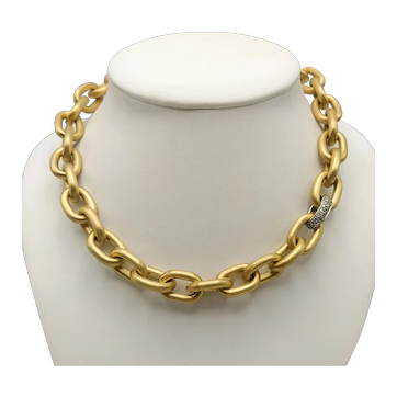 18k Gold Necklace with 18k White Gold Clasp and Diamonds / 18k Gold Choker / Thick Chain Necklace / Chain Choker