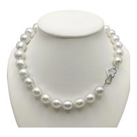Cultured Pearls Necklace with 18k White Gold Clasp / Dinh Van Hearts Clasp / Gradual Pearl Necklace / Heavy Pearl Necklace