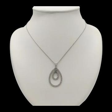 18k White Gold and Diamond Pendant with 18k White Gold Chain / Teardrop Pendant / Drop Pendant